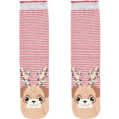 Accessorize Christmas Pug Socks ($7) ❤ liked on Polyvore featuring intimates, hosiery, socks, patterned hosiery, stripe socks, striped socks, christmas socks and print socks