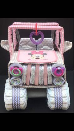 elephant diaper cake idea for baby shower centerpiece or gift Pink elephant diaper cake idea for baby shower centerpiece or Jeep Diaper Cake, Diy Diaper Cake, Diy Cake, Cake Jeep, Diy Diapers, Baby Shower Diapers, Luvs Diapers, Diaper Shower, Fiesta Baby Shower