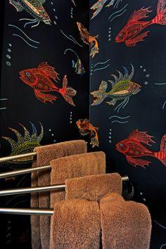 nina campbell wallpaper | close-up of the wallpaper pattern called Aquarium by Nina Campbell ...