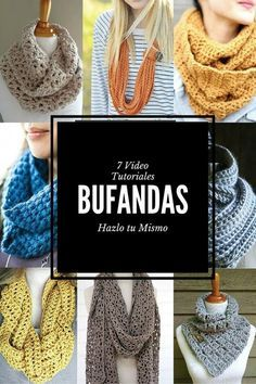 Elige tu modelo y ponte manos a la obra con tus agujas. Diy Crochet Scarf, Crochet Baby Hats, Crochet Scarves, Crochet Shawl, Knit Crochet, Knitting Patterns, Crochet Patterns, Crochet Videos, Crochet Fashion