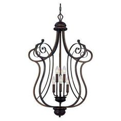 6-Light Rubbed Bronze Chandelier with Turinian Scavo Glass 279.00