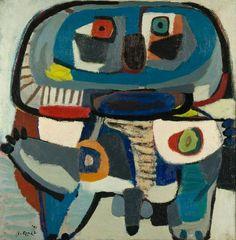 Karel Appel - De vierkante man,1951, oil on canvas
