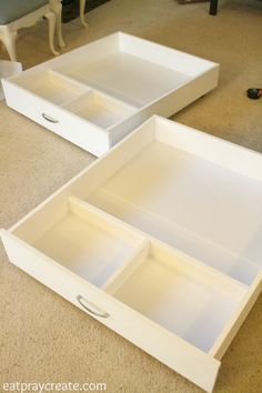Rolling Storage Drawers for underneath the bed! Great for storing Legos, clothes. - Rolling Storage Drawers for underneath the bed! Great for storing Legos, clothes…anything! Lego Storage Drawers, Diy Storage Bed, Diy Drawers, Kids Storage, Toy Storage, Bedroom Storage, Ikea Under Bed Storage, Under Bed Drawers, Bedroom Drawers