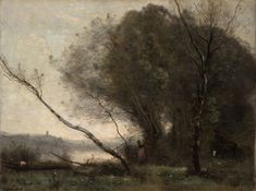 The Athenaeum - The Bent Tree (Jean-Baptiste-Camille Corot - ) Seascape Paintings, Landscape Paintings, Tree Paintings, Black And White Painting, Art Graphique, French Artists, Abstract Watercolor, Painting Inspiration, Claude Monet