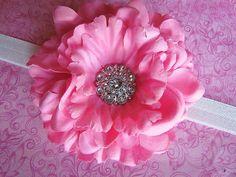 Baby Headband Pink Peony Flower Headband. $7.95, via Etsy.