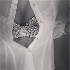 gorgeous bra with sheer blouse <3