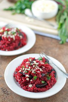 Beet Risotto. Ultra creamy and healthy risotto made with roasted beets.