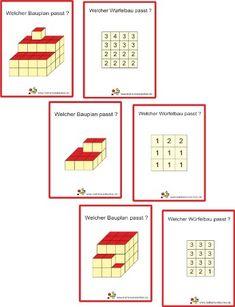 Würfelbauten – My Pin Kindergarten Math Activities, Preschool Math, Cube Pattern, Pattern Blocks, Primary Teaching, Teaching Math, Math For Kids, Puzzles For Kids, Maths Puzzles