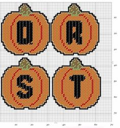Embroidery Alphabet, Cross Stitch Alphabet, Cross Stitch Charts, Alphabet Charts, Plastic Canvas Letters, Plastic Canvas Crafts, Fall Patterns, Canvas Patterns, Number Patterns
