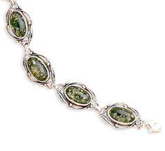ApplesofGold.com - Green Amber Link Bracelet with Leaf Design
