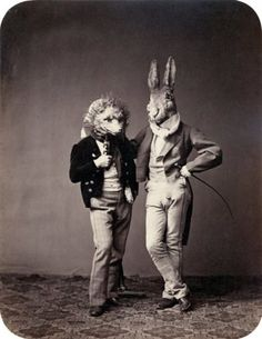 Victorian men dressed as animals.  Because...they're going to a party at the Stanley Hotel?  They're lovers?  Who knows.  But the rabbit man looks freakishly real and I don't know that he isn't really a giant rabbit pretending to be a human.  Bottom line: I want these guys at our next show, rabble-rousing our attendees into a state of frenzy.
