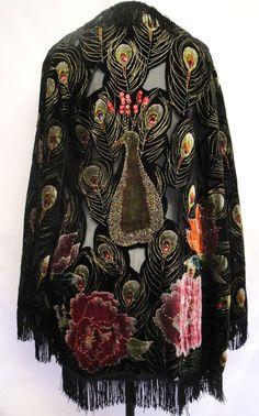 4TH SALE Vintage Black and multi color Beaded burnout velvet fringed boho kimono coat