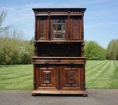 French Henry II Carved Walnut Buffet Dresser - Antiques Atlas