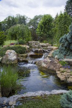 Low Maintenance Garden Landscaping Ultimate Backyard Oasis with Pond and Waterfall - Garden / Yard - House Exterior.Low Maintenance Garden Landscaping Ultimate Backyard Oasis with Pond and Waterfall - Garden / Yard - House Exterior Backyard Stream, Backyard Water Feature, Ponds Backyard, Pond Landscaping, Landscaping With Rocks, Landscaping Software, Tropical Landscaping, Natural Landscaping, Luxury Landscaping