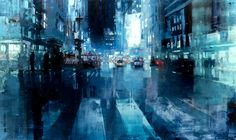 """Jeremy Mann - Artist """"NYC no.17"""" 36 x 60 inches Oil on Panel"""