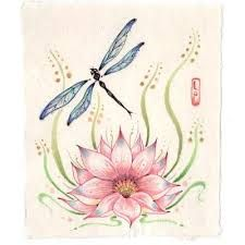 Dragonfly And Lotus Flower Tattoo Google Search Painting Whimsy