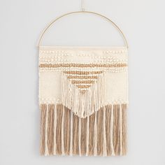 White and Gold Woven Wall Hanging by World Market