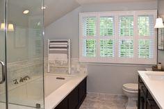 meg & the martin men: Rockwood Shutters - Plantation Shutters in her newly renovated bathroom