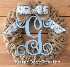 A personal favorite from my Etsy shop https://www.etsy.com/listing/540394347/monogram-burlap-wreath-initial-wreath