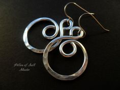 Hammered aluminum earrings wire wrapped by PillarOfSaltStudio