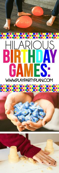 These hilarious birthday party games are great for teens and even for toddlers! Play them outdoor in the summer or indoor in the winter for one funny party! You could even try them with your tweens or for adults at a 50th birthday party. I can't wait to try #3! via @playpartyplan