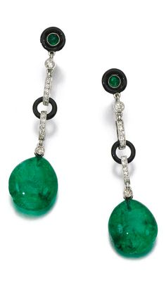 Pair of enamel, emerald and diamond earrings, Each suspending an emerald drop from baton and annular links set with circular- and single-cut diamonds, accented with black enamel and cabochon emeralds, Swedish assay marks. Emerald Ring Gold, Emerald Earrings, Emerald Jewelry, Gems Jewelry, Jewelery, Fine Jewelry, Estilo Fashion, Art Nouveau Jewelry, Art Deco Earrings