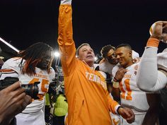Tennessee coach Butch Jones celebrates with his team