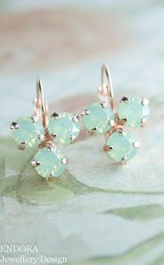 Mint opal earrings - perfect Christmas gift for friends and loved ones. Swarovski crystal earrings | www.endorajewellery.etsy.com