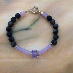 beautiful bracelet, black agate, lavander opal swarovski crystal, amathyst AB swarovski crystal silver sterling!