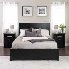 Prepac Queen Flat Panel Headboard Black
