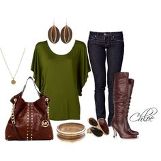 Not a fan of the jewelry but I love the blouse, bag and boots.