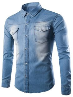 Breast Pocket Button Up Washed Denim Shirt