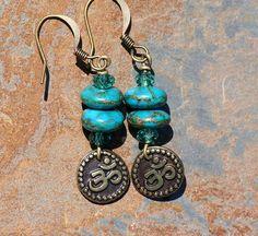 Yoga Earrings Om Earrings Serpentine Turquoise by EarthlyBaubles, $18.00