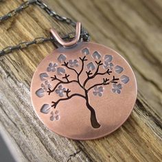 Springtime in Michigan Copper Tree Pendant
