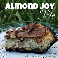 """""""Almond Joy Pie"""" OH MY! I used pecans, so I guess it couldn't be Almond Joy. Brownie Desserts, Pudding Desserts, Just Desserts, Delicious Desserts, Yummy Food, Sweet Desserts, Pie Recipes, Sweet Recipes, Dessert Recipes"""