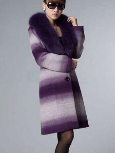 Magnificent Purple Fur Collar Wool Women's Overcoat - Women's Coats - Outerwear - Women's Clothing