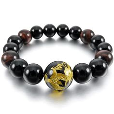 Men,Women's 12mm 14mm Bracelet Link Wrist Agate Black Gold Buddha Mala Beads * Continue to the product at the image link.