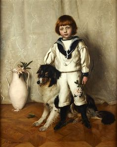 Patrick, Son Of Sir David Chalmers And His Dog by John Henry Lorimer (1856 – 1936). Collie