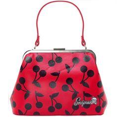 Image of Sourpuss Betsy Cherry Print Bag Handbag Rockabilly Retro Purse Vintage Pin Up