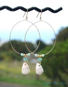 Spotted Cone Shell and Gold Filled Hoop Earrings - Maui Shell Jewelry. $35.00, via Etsy.