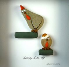 Sunny Side Up. 6x6 shadow box Pebble Art natural von qvistdesign