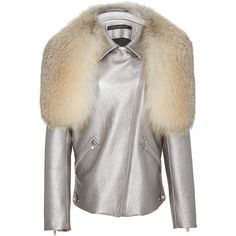 Sally LaPointe     Metallic Leather Moto Jacket with Fox Fur Stole (£5,580) ❤ liked on Polyvore featuring outerwear, jackets, silver, zipper leather jacket, leather biker jacket, white motorcycle jacket, biker jacket and metallic leather jacket