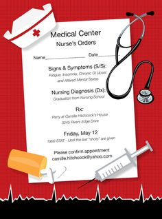 Nurses Orders Invitations by Noteworthy Collections - Invitation Box Today's gonna be a long one! This fun flat white nursing school graduation invitation features a