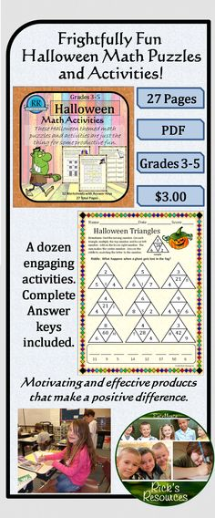 20% OFF TODAY!  These twelve math puzzles and activities (with answer keys) are a great way to keep kids motivated and productive around Halloween. Students can complete story problems, match answers, break codes, find patterns, complete puzzles - all while reviewing and reinforcing core math concepts and skills including some Common Core concepts. Great for whole group, centers, or individuals. Grades 3-5. 27 pages
