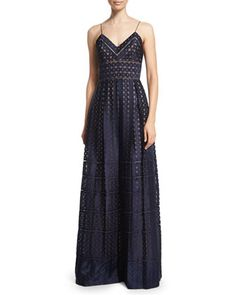Spotted Organza Spaghetti-Strap Gown, Navy by Catherine Deane at Bergdorf Goodman. $1200