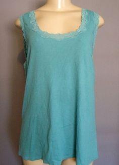 J JILL 3X Long Tank Top Blue Lace Trimmed Ribbed Sleeveless #JJill #Tank #Cami #Casual #Summer #Fashion #PlusSize #Apparel #Shopping #eBay
