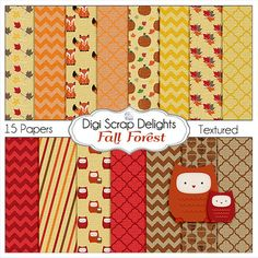 Autumn Fall Digital Papers Fox Leaves Pumpkin by DigiScrapDelights,