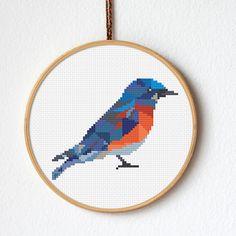 PDF counted cross stitch pattern Bluebird Geometric pattern