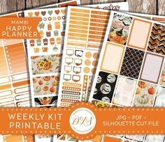 Collective-Halloween MAMBI Planner Stickers Printable Weekly Kit Fall October Planner Pumpkin Stickers Orange Brown Black Instant Download HP104 $3.50 #affiliatelink