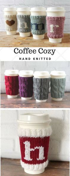 These handknit, personalized coffee cup cozies make fantastic gifts and stocking stuffers!#CoffeeCozy#KnitCoffeeSleeve, #CupSleeve, #CupCozy, #TeacherGift, #HostessGift, #MonogramCoffeeCozy, #StockingStuffer, #HostessGift#ad#etsy#handknit
